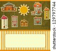 Set of Houses Retro Card. Cartoon Homes and Sun on Vintage Background with place for text. Vector Illustration. - stock vector