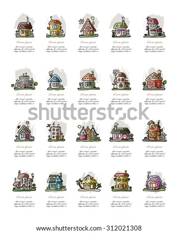 Set of houses, sketch for your design. Vector illustration - stock vector