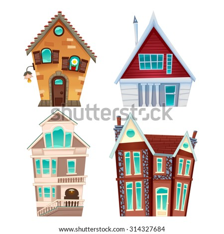 Set of houses. Vector cartoon isolated items for games and graphics. - stock vector