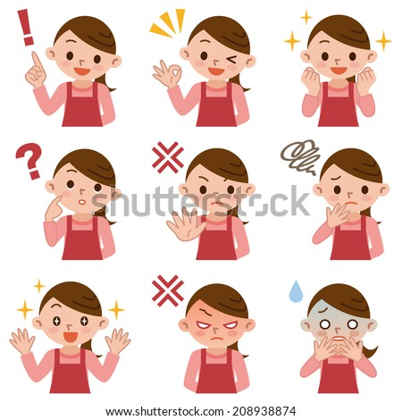 Set of housewife in various poses - stock vector