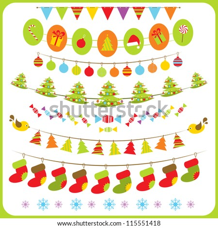 Set of ?hristmas  bunting and garland. - stock vector