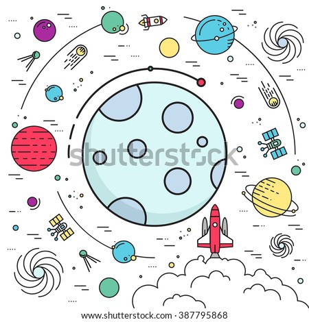 Set of huge space infographic universe illustration. Outer space rocket flying up into the solar system with a lot of planets background. Vector thin lines icons stars in galaxy design concept.  - stock vector