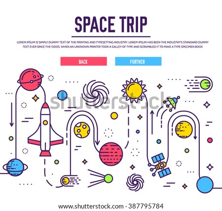 Set of huge space infographic universe illustration. Outer space rocket flying up trip into the solar system with a lot of planets background. Vector thin lines icons stars in galaxy design concept.  - stock vector