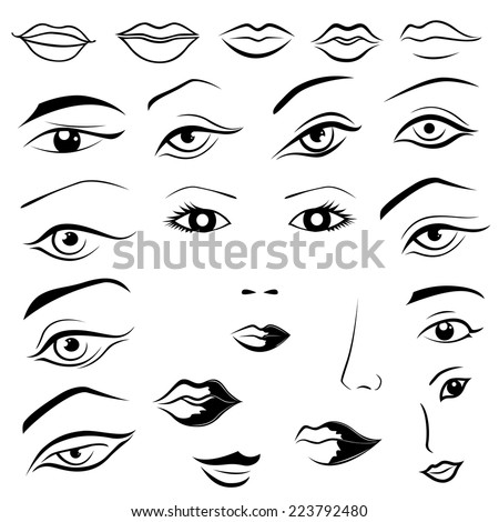 Set of human eyes, lips, eyebrows and noses as black and white vector sketching design elements - stock vector