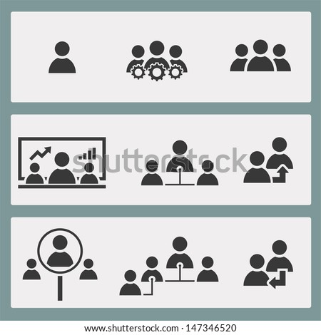Set of Human resource and management icon. Vector illustration. - stock vector