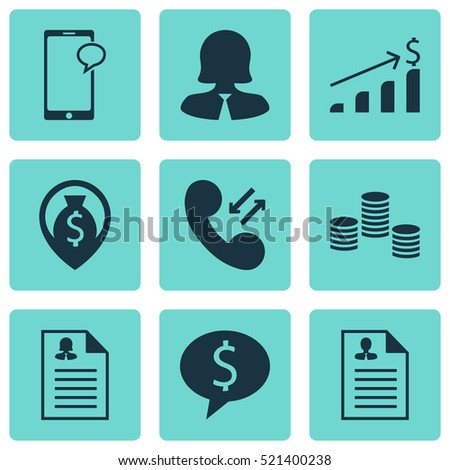 set management icons on manager coins stock vector 513748393