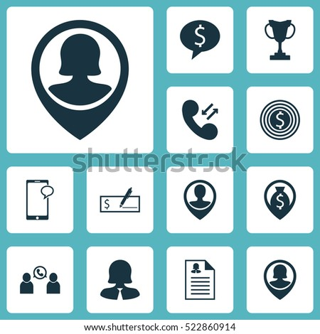 management icons set collection female pin stock vector 715206709
