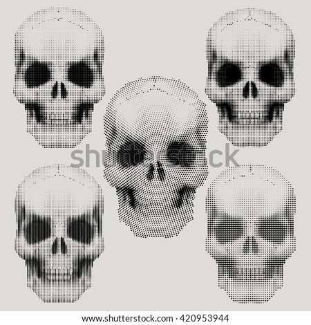 Set of Human skulls in vintage halftone sketch style. Vector Illustration isolated on background.