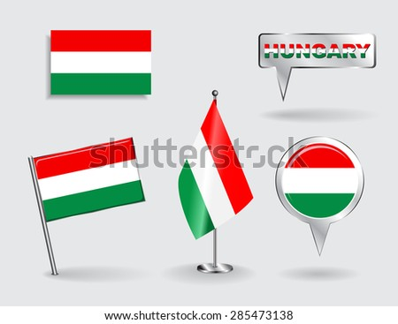 Set of Hungarian pin, icon and map pointer flags. Vector illustration. - stock vector