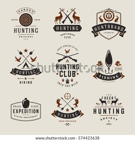 Set of Hunting and Fishing Labels, Badges, Logos Vector Design Elements Vintage Style. Deer Head, Hunter Weapons. Advertising Hunter Equipment. Fishing Logo, Deer Logo, Rifle Logo, Camp Logo. - stock vector