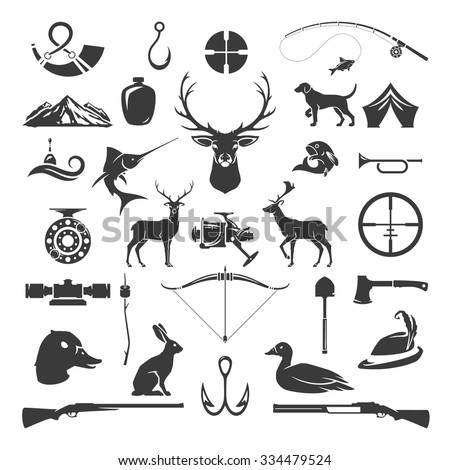 Set of Hunting and Fishing Objects Vector Design Elements Vintage Style. Deer head, hunter weapons, forest wild animals and other isolated on white. - stock vector