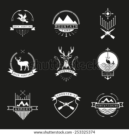 Set of  hunting, camping, fishing, armory and shooter's logo, emblem.  - stock vector
