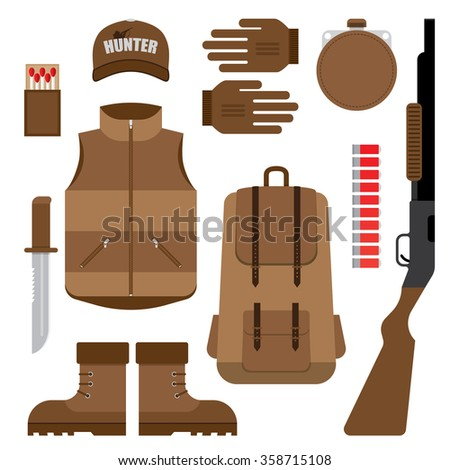 Set of Hunting, Objects Vector Design Elements - stock vector
