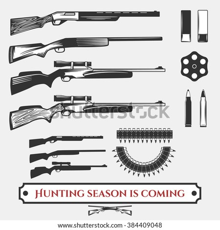 Set of hunting rifles and bullets for yoir design. - stock vector