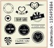 set of I Love You vintage retro style labels - stock vector