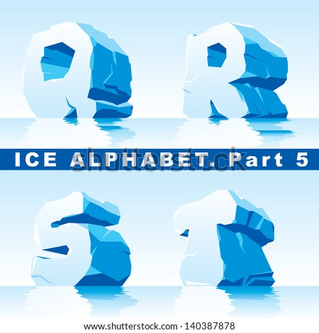 set of ice letters.  Part 5 - stock vector