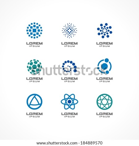 Set of icon design elements. Abstract ideas for business company, communication, technology, science and medical concepts.  Pictograms for corporate identity template. Stock Illustration (Vector) - stock vector