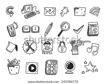 set of icon related to desktop computer - stock vector