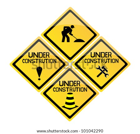 set of icon sign for under construction - stock vector