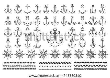 Set of icons and contour of sea theme -  anchors, ropes and sea wheels
