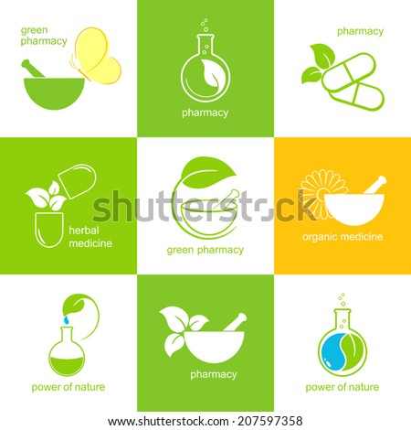 Set of icons and emblems for pharmacy and herbal medicine - stock vector