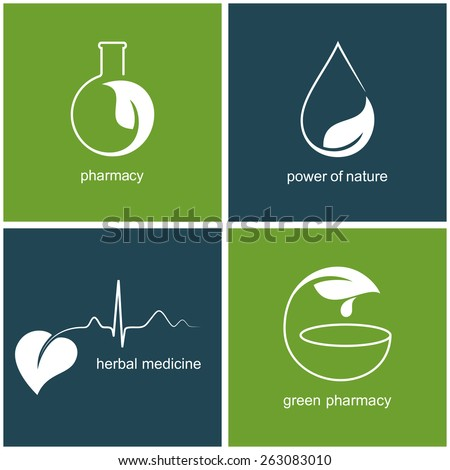 Set of icons and emblems with leaves for green pharmacy and herbal medicine