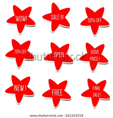 Set of icons and labels for dealers and shops. Used for sales, information for buyers and sales stimuli  - stock vector
