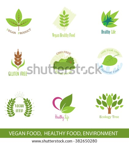 Set of Icons and Logo Design Elements for Healthy Food, Vegan Food, Ecology.