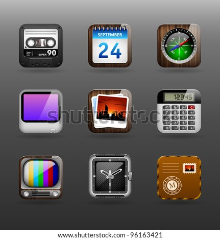 Set of icons (appendices and services) for smartphones. Set 1. - stock vector