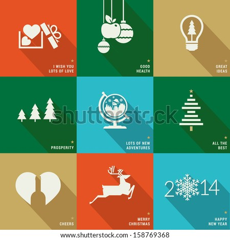 Set of icons, banners and cards for Christmas and New Year - stock vector