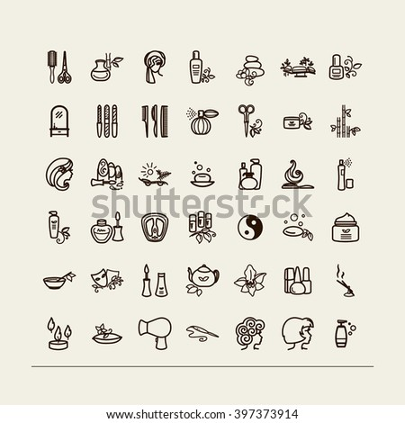 Set of icons - beauty saloon, Spa, barbershop. A vector. - stock vector