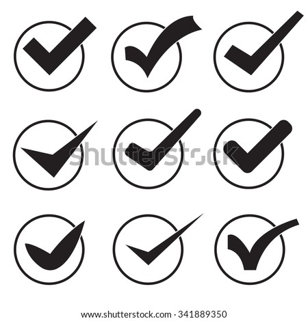 set of 9 icons black checkmarks on a white background - stock vector