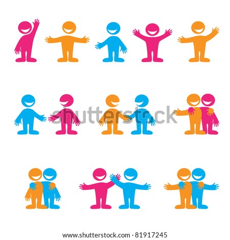Set of icons - communication. Greetings, negotiation, friendship. Vector collection. - stock vector
