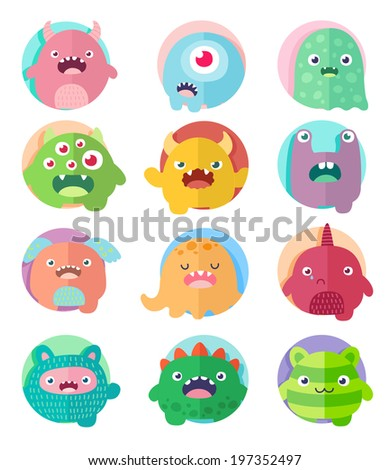Set of icons, cute cartoon 12 monsters in circles with positive emotions faces