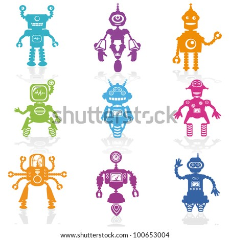 Set of Icons -Cute Little Robots Collection - in vector - stock vector