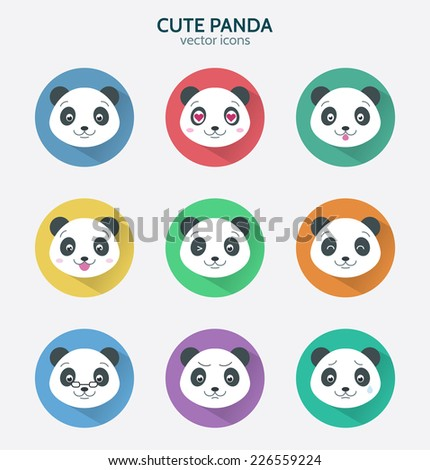 Set of icons cute panda. Flat style. Vector illustration.