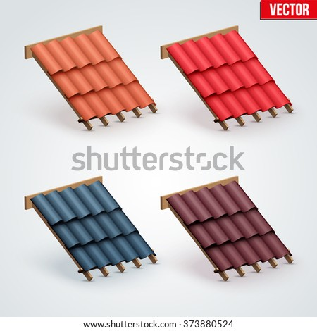 Set of Icons demonstration many color ceramic tiles cover on the roof.  Vector Illustration isolated on white background. Roof icon