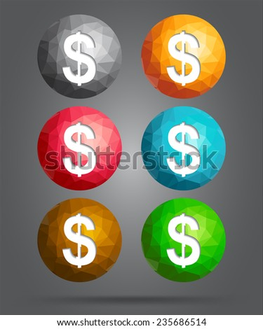 set of icons dollar - stock vector