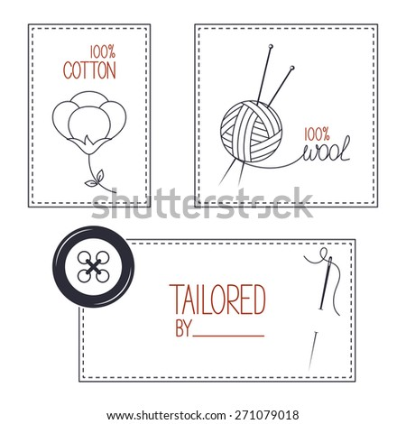 Set of icons, emblems and labels for cotton, wool and tailor products - stock vector
