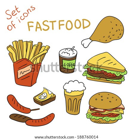 Set of icons - Fastfood ( vector)