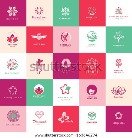 Set of icons for beauty, cosmetics, spa and wellness     - stock vector