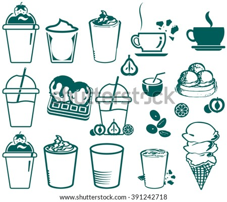 Set of icons for cafeteria and ice cream restaurant - stock vector
