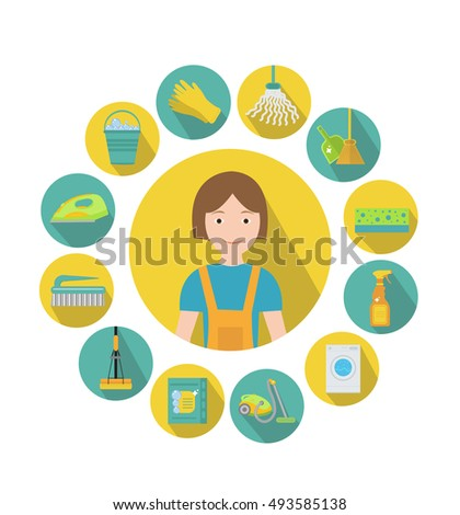 Set of icons for cleaning tools. Cleaning staff, infographics. Flat design style. Vector illustration