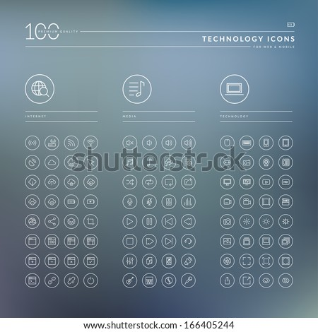 Set of icons for internet, media and technology - stock vector