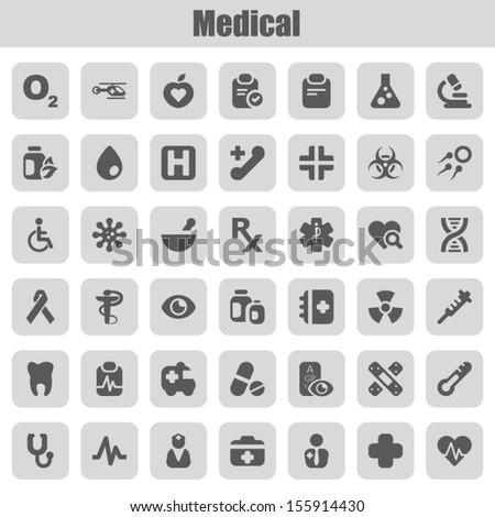 set of icons for medicine - stock vector