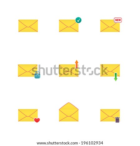Set of icons for messages. Vector illustration. - stock vector