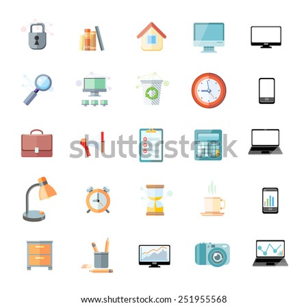 Set of icons for office and time management with digital devices and office objects on white background - stock vector