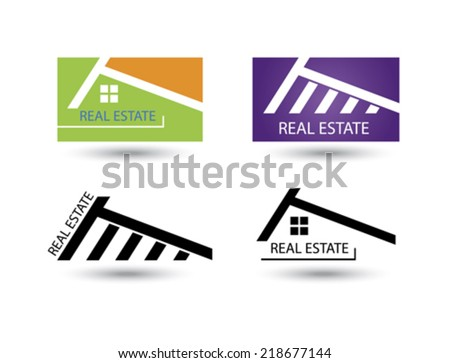 Set of icons for real estate business on white background. - stock vector
