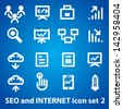 Set of icons for social networking and the Internet, as well as SEO - stock photo