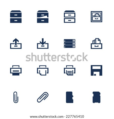 Set of icons for software interface in flat style - stock vector